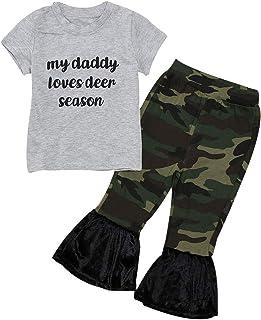 Shusuen 2PCS Baby Girl Letter Print Shirts Top + Camo Pants Casual Clothing Capris Playwear Knit Sets