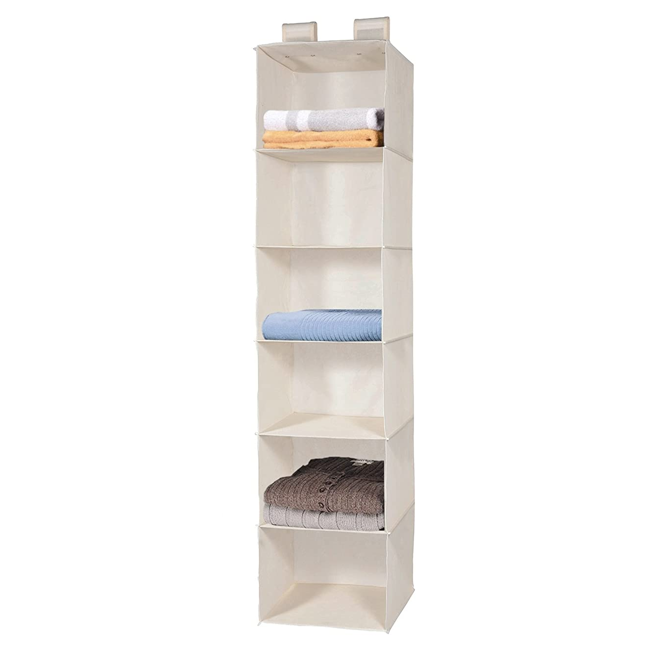 MaidMAX 6 Tiers Cloth Hanging Shelf for Closet Organizer with 2 Widen Straps, Foldable, Beige, 51.5 Inches High