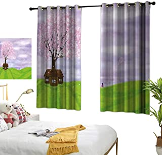 LewisColeridge Blackout Lined Curtains Nature,Single House by Blooming Spring Tree and Little Girl with Kite Idyllic Picture,Lime Green Lilac,Thermal Insulated,Grommet Curtain Panel Set of 2 42