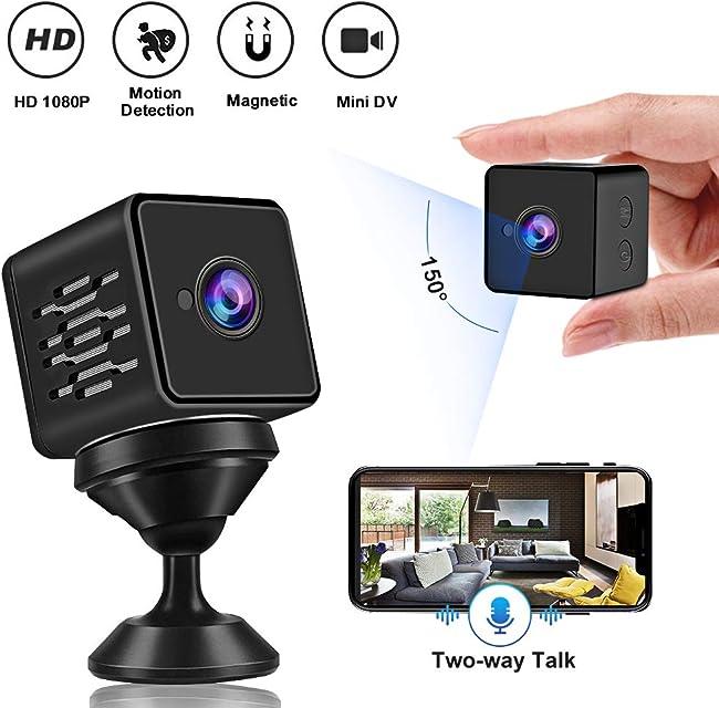 Mini Cámara Espía WZTO Cámara Oculta con Sensor Movimiento y Visión NocturnaWiFi HD 1080P Cámara Vigilancia inalámbrica Portátil Camara de Seguridad para Interiores y Exteriores