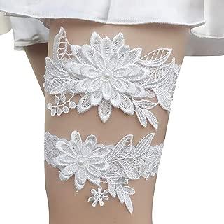 Jessie storee 2PCS Wedding Garters Set Bridal Garter Lace Bow with Pearl Flower Floral Design Leg Ring Bride Garter for Brides Belt Sexy Leg Loops Set Bridal Accessory,