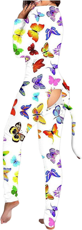 Romper Onesie for Womens,Ladies Sexy Jumpsuit Rompers Cute Animal Long Sleeve Button Flap Homewear Sleepwear Playsuits