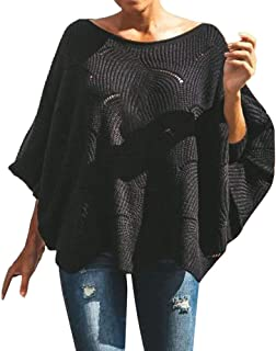 Luckycat Jerseys de Punto Mujer Sueter Tejido Señora Suéter Mujer Jersey Oversize Largo Sweaters Largos Sueteres Tejidos Pullover Gordos Sweater para Damas Jerséis Ancho Tejer Sueter