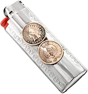 Indian Head Penny Silver Lighter Case Cover Double Coin Pattern 0011