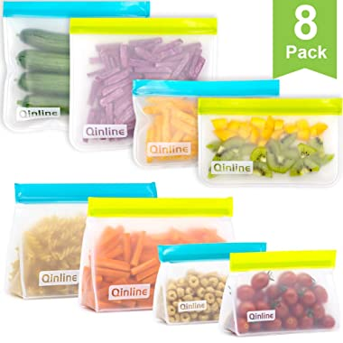 Reusable Ziplock Bags - 8 Pack Mix Stand up & Flat Freezer Bags (4 Reusable Sandwich Bags + 4 Reusable Snack Bag) BPA Free Reusable Storage Bags for Food, Lunch, Make-up, Travel, Home Organization