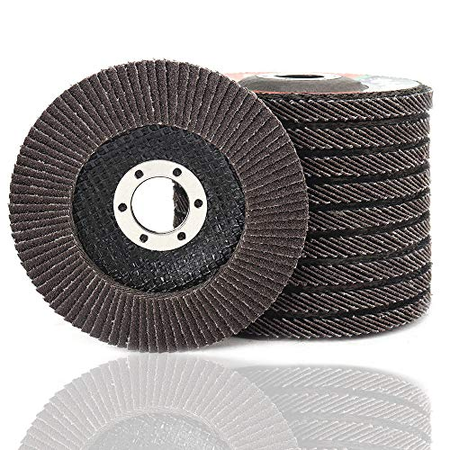 10 unidades de disco de solapa de óxido de aluminio calcinado de alta densidad de 4.5 pulgadas x 7/8 pulgadas, tamaño completo tipo 29 (grano 40-320)