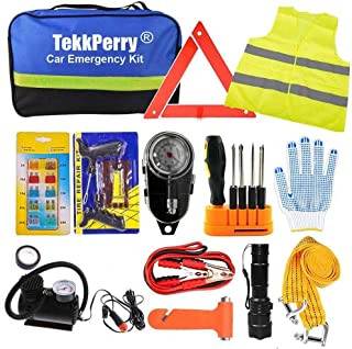 Car Emergency Kit, Roadside Assistance Auto Emergency Kit, 14-piece Tool Set Car Safety Kit with Jumper Cables, Tire Pressure, Tow Trap for Travel Camping Adventure for your Truck, Car, SUV