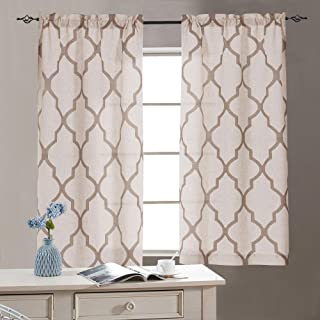 Linen Kitchen Tiers 45 Length Moroccan Print Geometry Privacy Half Window Curtains for Bathroom 1 Pair 26