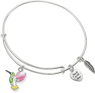 Colorful Hummingbird Charm Expandable Silver-Tone Bangle Bracelet