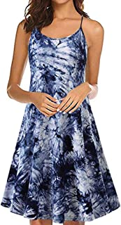 WYTong Women's Fashion Plangi Printed Cami Dress Summer Sleeveless Strappy Beach Dress Crew Neck Sundresses