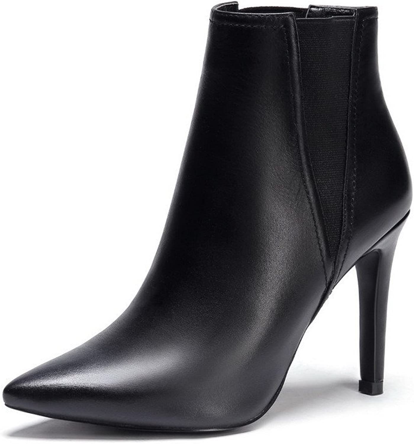 WeenFashion Women's Cow Leather High-heels Pointed-toe Boots with Winkle Pinker and Stiletto