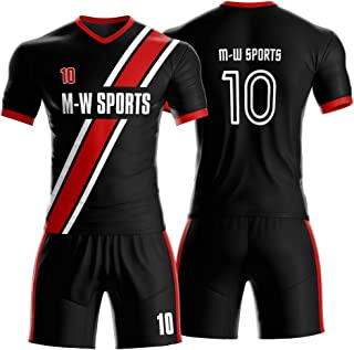 Classic line Pattern Custom Soccer Uniforms with Name and Number 3 Colors