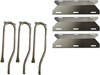 Hongso Burner Tube Kit Grill Burners for Jenn Air Gas Barbecue Grill 720-0336, 720-0337, 720-0511, 720-0512 Replacement Kit Grill Burners, Heat Plates Stainless Steel 3-Pack (SBC361, SPA231)