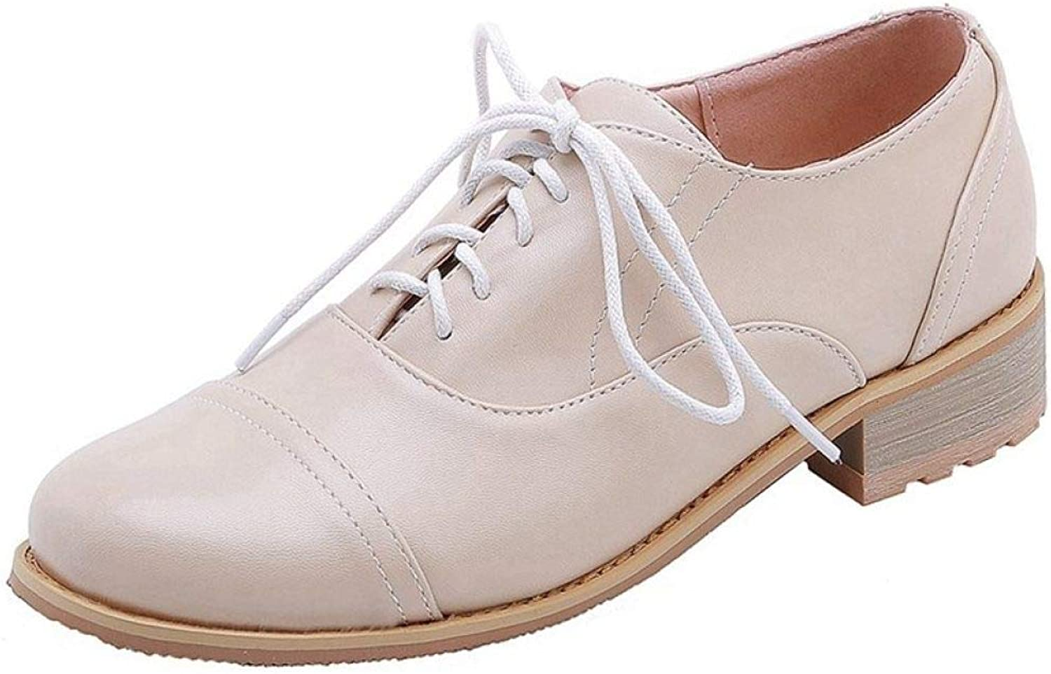 Fay Waters Women's Leather Classic Saddle Oxfords Low Heel Round Toe Lace Up Plain shoes