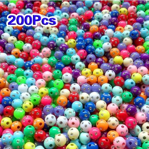 Sunluxy Mall Plastica Strass Perline 8mm, Confezione da 200, Rotondo, Multicolore