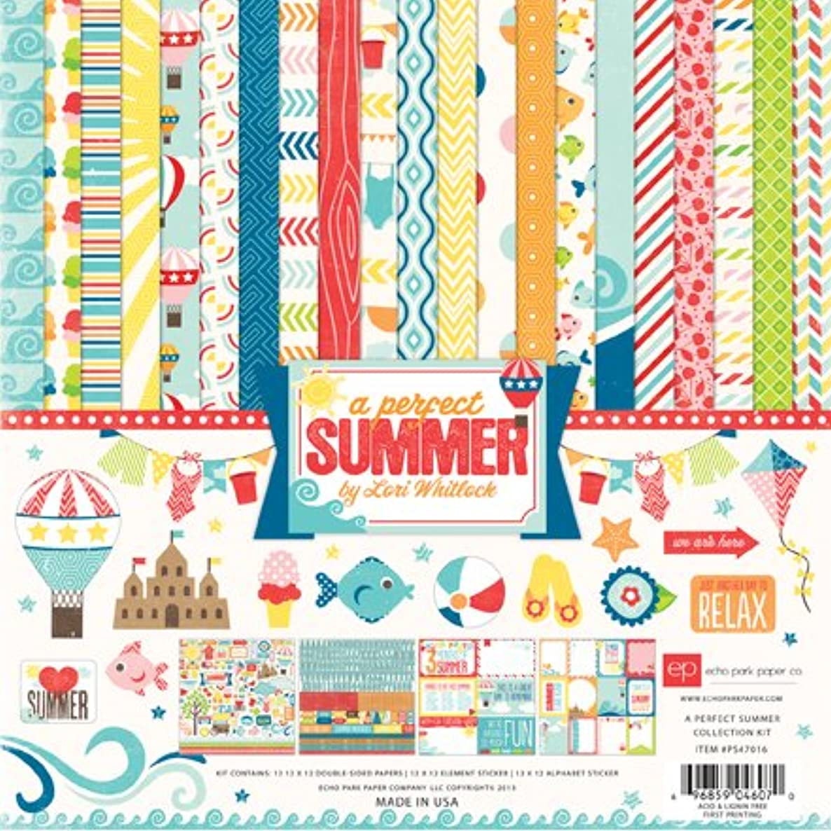 Echo Park Paper Company A Perfect Summer Scrapbooking Collection Kit by Lori Whitlock Features Hot Air Balloons, Fish, Ice Cream, Beach Balls, Star Fish, Flip Flops and More