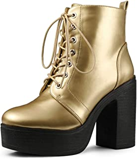 Allegra K Women's Platform Chunky High Heel Lace Up Combat Boots