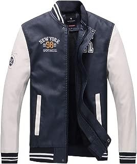 wuliLINL Men's Basic Leather Letter Man Baseball Varsity Jacket Bomber Outwear