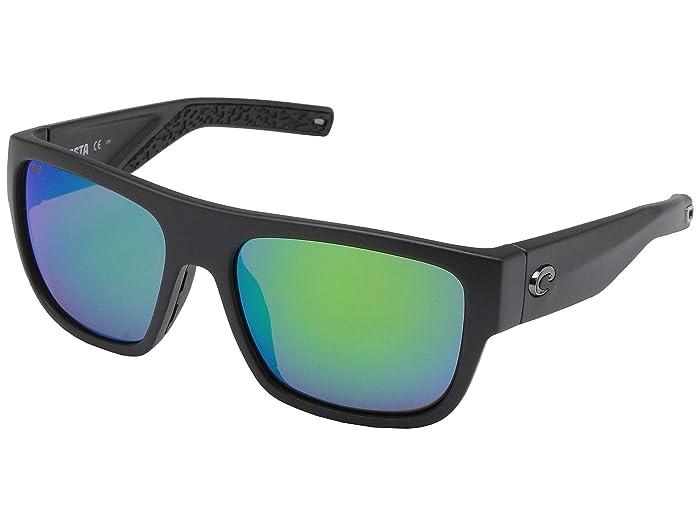 Costa  Sampan (Matte Black Frame/Green Mirror Lens 580P) Fashion Sunglasses