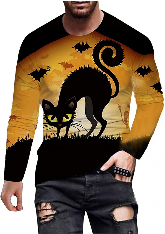 Aayomet Long Sleeve Tee Shirts for Men Halloween Printed Round Neck Sweatshirts Quick Dry Casual Shirts
