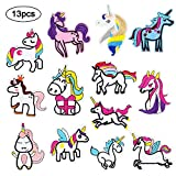 Unicorn Embroidery Patches Cute Iron on Patch 13 Pcs Delicate Sew on Appliques for Repairing Hole Decorative Custom Backpack Patches for Men Women Boys Girls Kids Jackets Jeans Clothes Garments