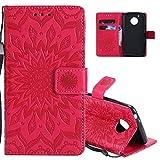 EMAXELERS Moto G5 Hülle Flip Schale Brieftasche Standfunktion & Karte Halter Etui Kartenfächer Wallet Tasche Etui für Motorola Moto G5,Red Left and Right Sunflower