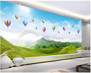 Yxjj1 Wallpaper Mural Ultra HD Panorama Rainbow hot air Balloon Mountain Landscape Photo 3D Wallpaper 300cm (W) x 200cm (H) (9'8 '' x 6'5 '') ft