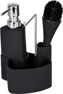 WENKO Rangement évier, distributeur liquide vaisselle porte éponge, brosse, noir