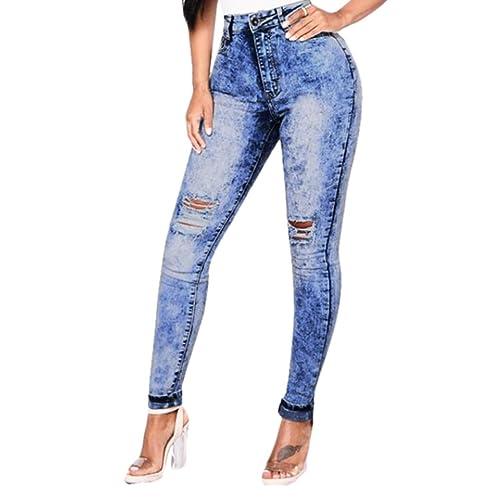 Jeans Elastico De Cintura Alta Rotos Tejanos Pantalones Skinny Vaqueros Largos Denim 2xl 7xl Lhwy Vaqueros Talla Grande Mujer