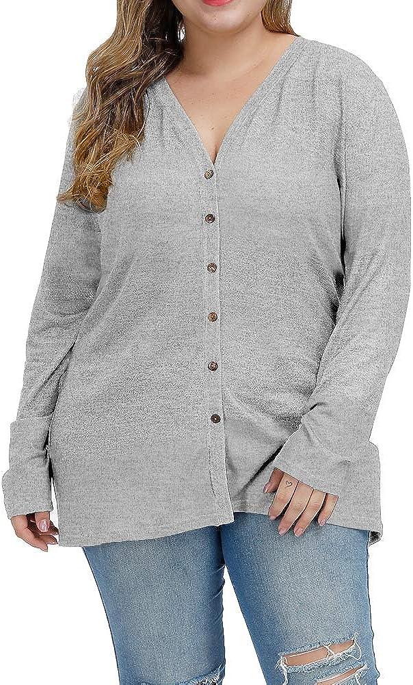 ALLEGRACE Women Plus Size Blouses Openable Button Down Shirts Long Sleeve Color Block Stripe Tops