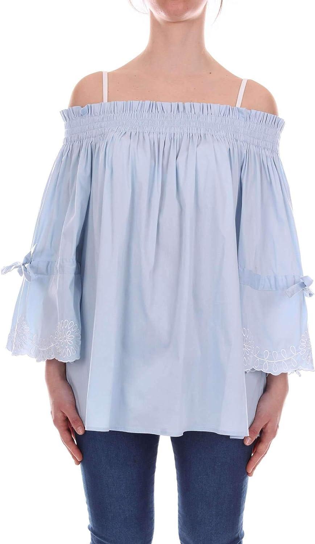 Jovonna London Women's KARAblueETTE Light bluee Silk Top