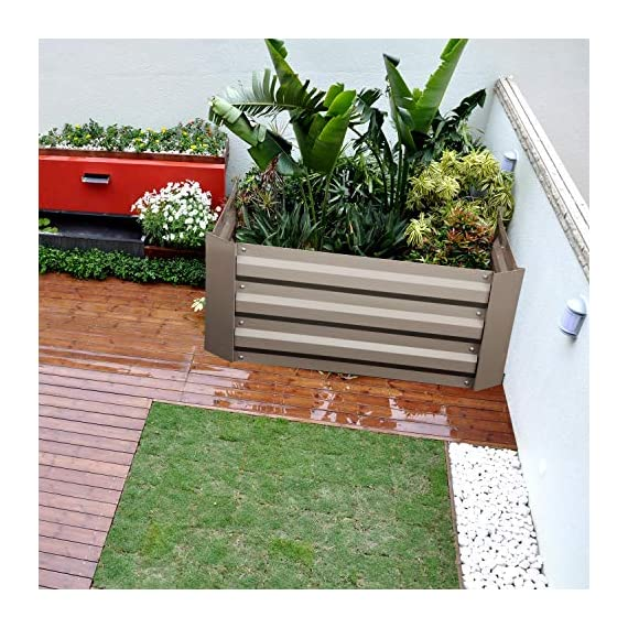 """Klismos 2'x2'garden bed metal outdoor galvanized steel planter box patio raised garden bed kit for vegetables/flower… 2 【overall dimensions】---- 94. 48""""(l)x47. 24""""(w)x11. 81""""(h) 【open-bottom garden bed】 【easy to assemble for the outdoor planter boxes】"""