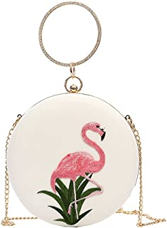 Women Embroidery Flamingo Handbag Tote Bag Shoulder Bags Clutch Round Shaped Crossbody Bag Evening Party Bags