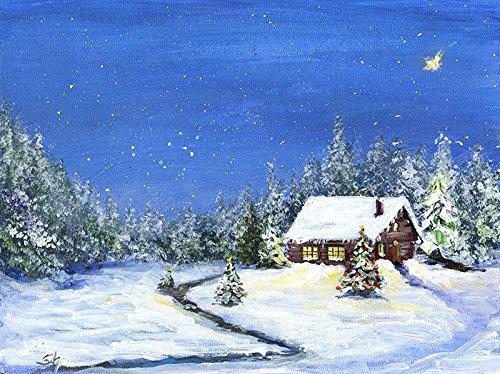 Bild Landschaft Winter Weihnachten Malerei Kunst Original Ölmalerei Gemälde 24x18 cm