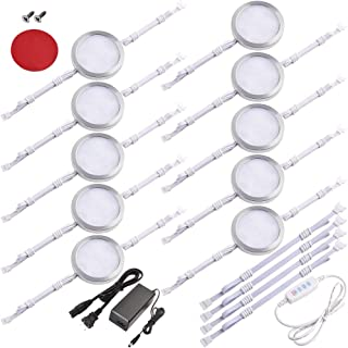 Lvyinyin Under Cabinet LED Puck Lights, 3 Colors Changeable, Dimmable Linkable 10 Lights Kit, for Kitchen Counter Closet Cupboard Lighting, Direct Hardwired or Wall Plug