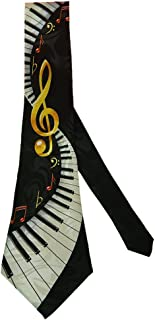 Steven Harris Men's Keyboard Neck Tie with Notes and Treble