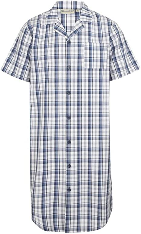 Walker Reid Mens Navy//Red Classic Check 100/% Cotton Long Sleeve Nightshirt Medium-3XL