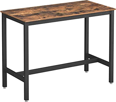 VASAGLE ALINRU Dining Table, Bar Table with Steel Frame, Multifunctional Desk for Dining Room or Living Room, Industrial Acce