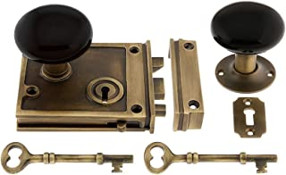 House of Antique Hardware R-01HH-1022-BLK-AB Solid Brass Horizontal Rim Lock Set with Black Porcelain Door Knobs in Antique Brass