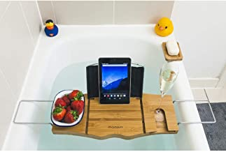 Bamboo Bath Tub Tray Caddy: Luxury Bathtub Tray with Wine Glass Holder, Book Stand & Phone, iPad Tablet Rest. Wooden Spa Bath Accessories for a Relaxing Bubble Bath for Women & Men