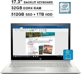 2019 Newest HP Envy 17.3 Inch FHD Touchscreen Laptop (Intel 4-Core i7-8550U up to 4GHz, 32GB RAM, 512GB SSD + 1TB HDD, NVIDIA MX150 2GB, Backlit Keyboard, DVD, WiFi, Bluetooth, HDMI, Win10) (Renewed)