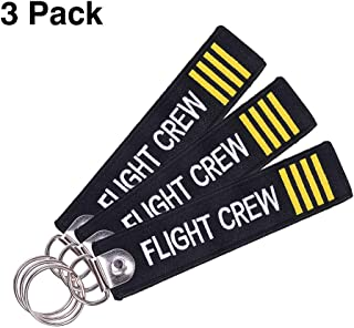 MELIFE Pilot Keychain Tag with Key Ring, 3 Pack Flag Keychain for Motorcycles, Scooters, Cars and Gifts -Flight Crew