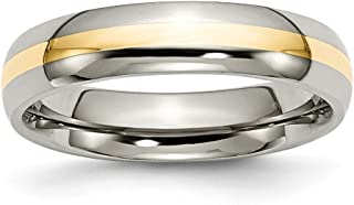 ICE CARATS Titanium 14k Yellow Inlay 5mm Wedding Ring Band Precious Metal Fine Jewelry for Women Gift Set