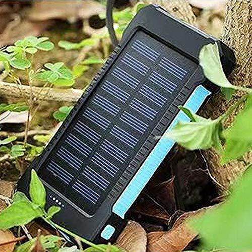 Batería externa solar de 20.000 mAh, cargador solar con 3 puertos USB (USB y USB C), luz LED, brújula para iPhone, Samsung, teléfonos móviles, tabletas, camping, exteriores