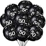 36 Pieces 40th 50th 60th 70th Birthday Party Latex Balloons Black Number Printed Balloons for Party Decoration Supplies (50th)