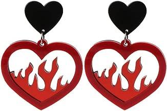 Acrylic Red Heart Fire Dangle Earrings Pendant Statement Women Jewelry