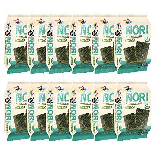 KIMNORI Seasoned Seaweed Snacks Sheets – Organic Sea Salt Flavor 12 Individual Packs Roasted Crispy Premium 100% Natural Laver Kim Nori 4g 0.14 Ounce 김 のり 海苔 紫菜