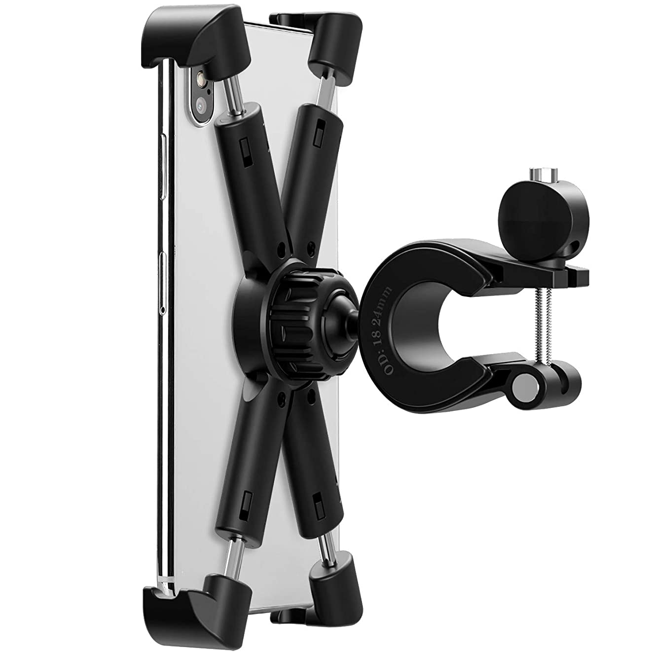 Bike Phone Mount Holder, Universal Cell Phone Bicycle Rack Handlebar,Bicycle Cradle for iPhone 6s 7 8 Plus X Gaxlxy S5 S6 S7,Note 9 8 7 6 5 Motorola, Nexus, LG Android Smartphone with 360 Degree Rotat