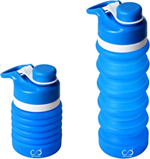 MEYUEWAL Collapsible Water Bottle BPA Free, FDA Approved Food-Grade Silicone Portable Foldable Water Bottle for Traveling Hiking Camping Cycling Gym and Outdoor Sports Leak Proof 550ML