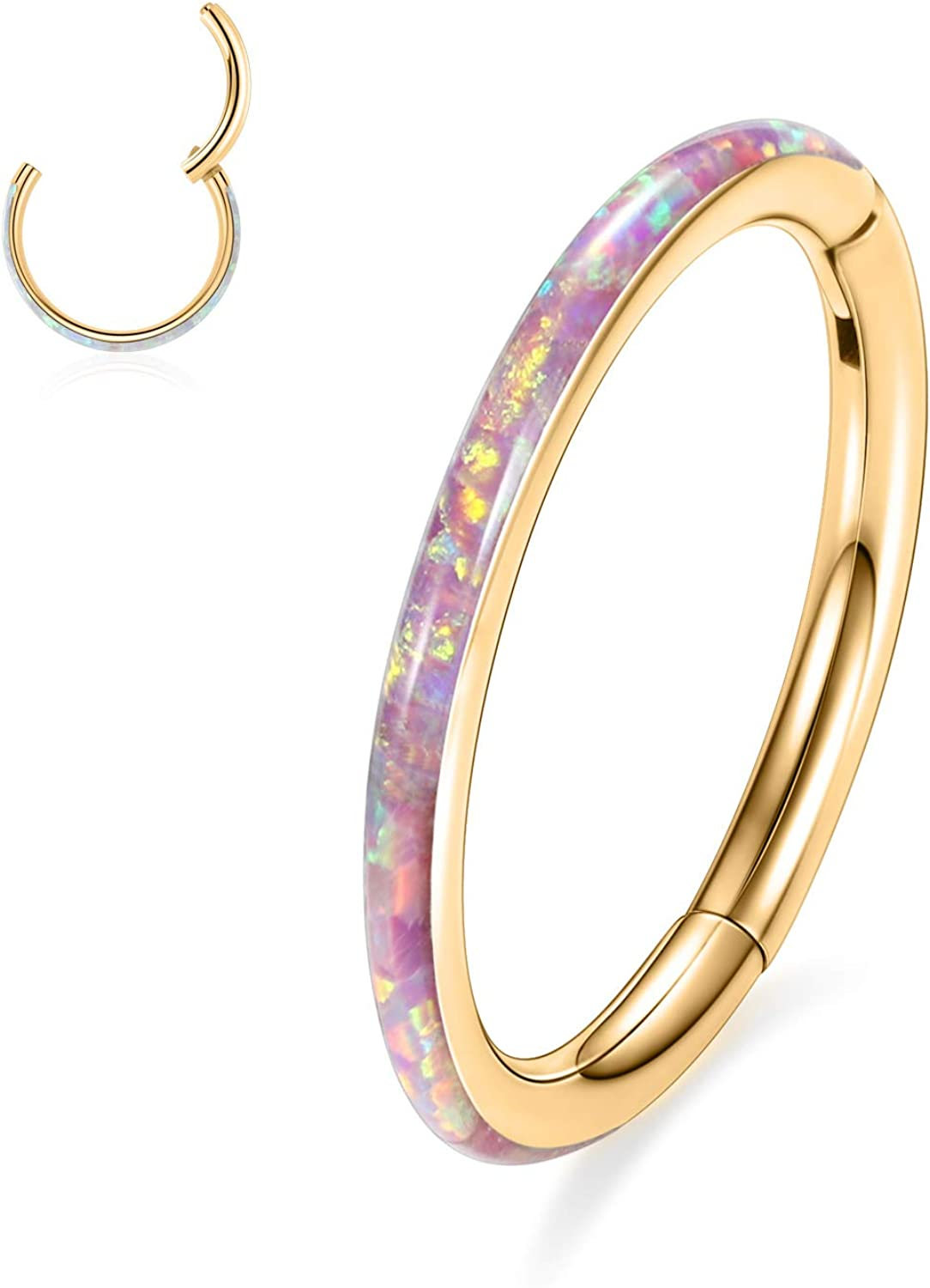 AROWRO Septum Clicker 316L Surgical Steel Opal Hinged Segment Ring Hoop 16G 6/8/10/12mm Cartilage Conch Helix Daith Rook Tragus Earrings Nose Rings
